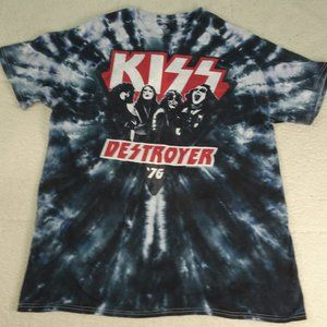 Liquid Blue Kiss Destroyer '76 Tie Dye Tee Large